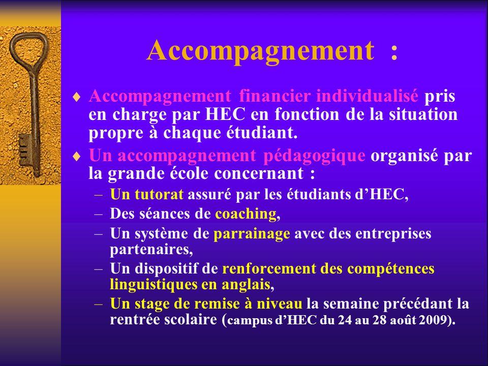 Accompagnement : Accompagnement financier individualisé pris en charge par HEC en fonction de la situation propre à chaque étudiant.