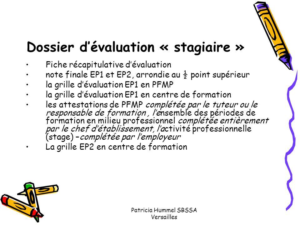 Dossier d'évaluation « stagiaire »