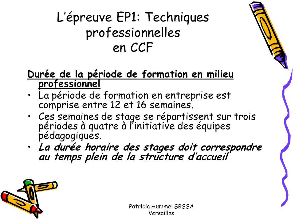L'épreuve EP1: Techniques professionnelles en CCF