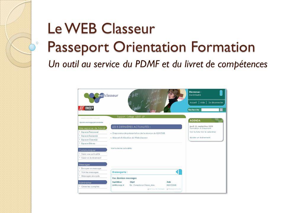 Le WEB Classeur Passeport Orientation Formation