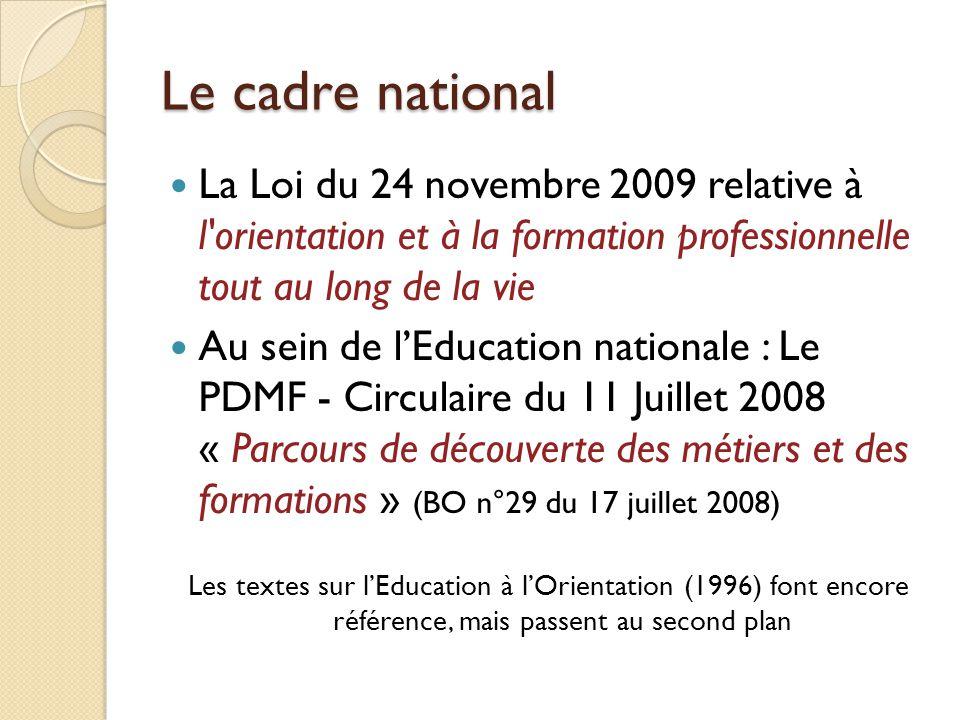Le cadre national La Loi du 24 novembre 2009 relative à l orientation et à la formation professionnelle tout au long de la vie.