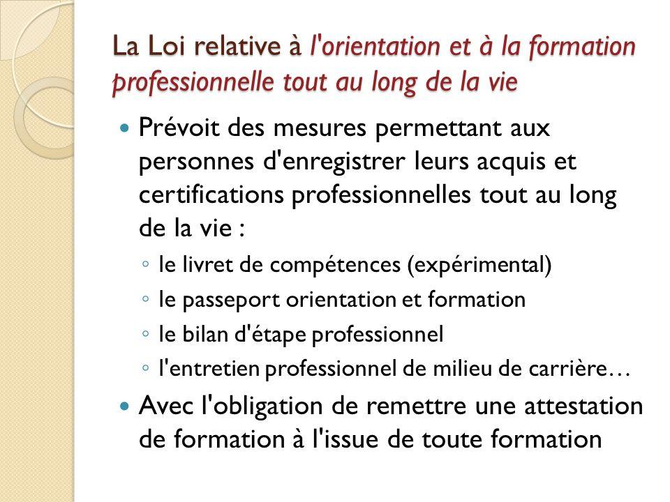 La Loi relative à l orientation et à la formation professionnelle tout au long de la vie