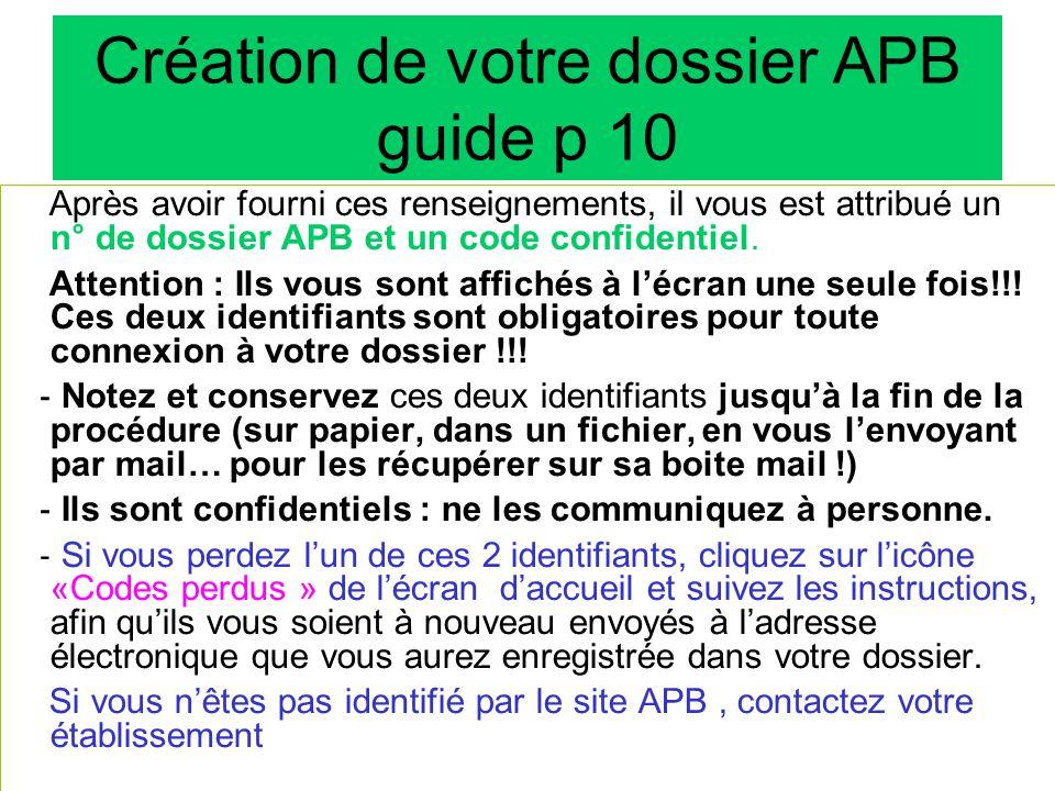 Création de votre dossier APB guide p 10
