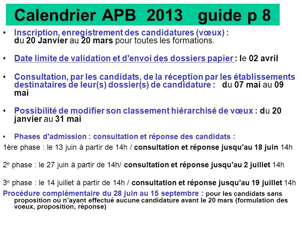Calendrier APB 2013 guide p 8
