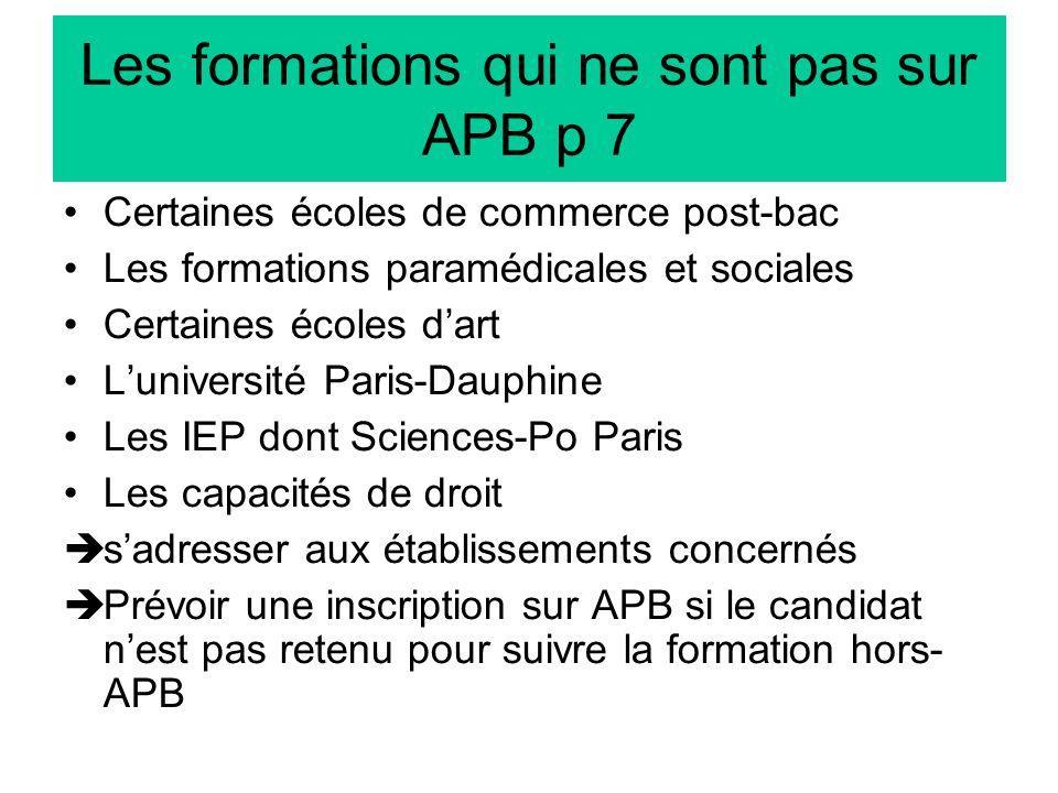 Les formations qui ne sont pas sur APB p 7