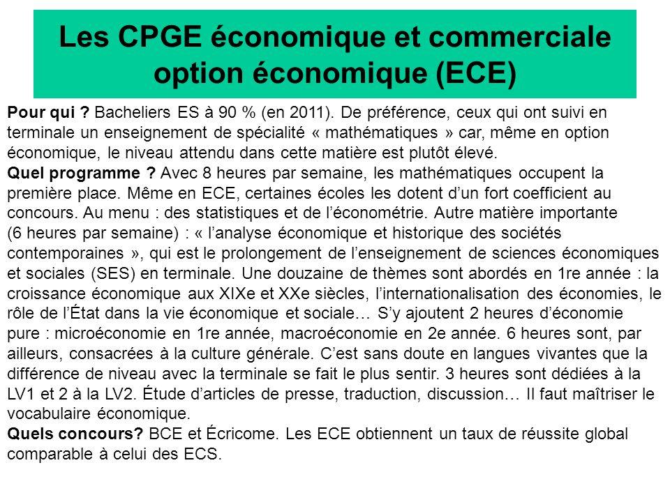Les CPGE économique et commerciale option économique (ECE)