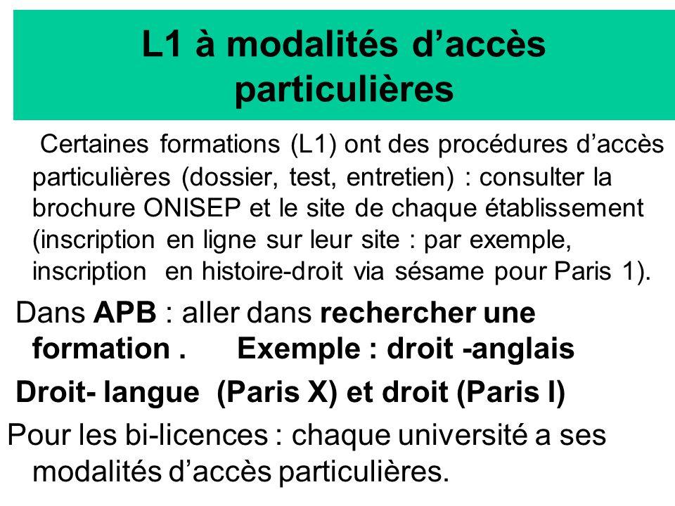 L1 à modalités d'accès particulières