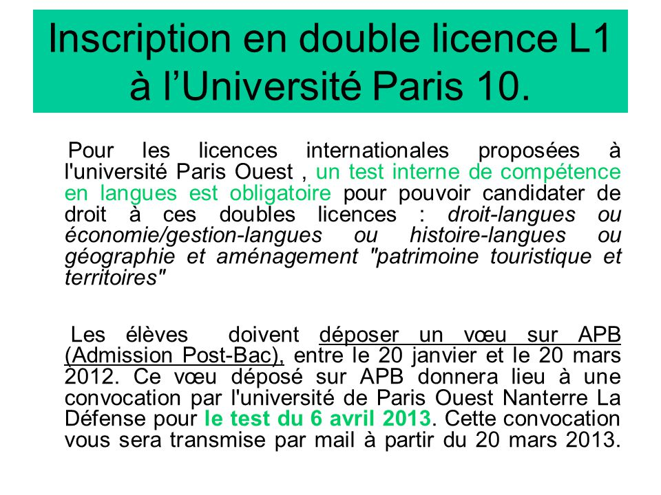 Inscription en double licence L1 à l'Université Paris 10.