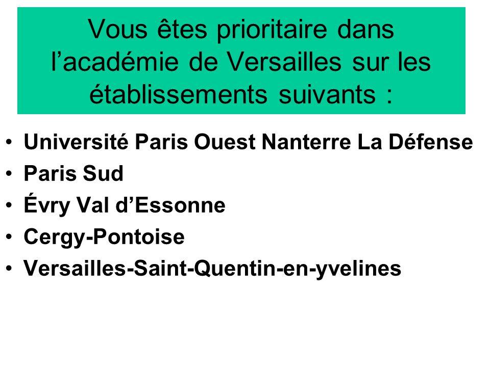 Vous êtes prioritaire dans l'académie de Versailles sur les établissements suivants :