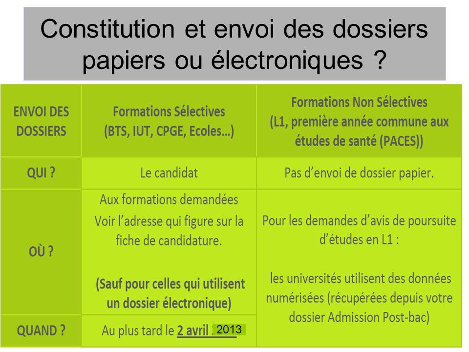 Constitution et envoi des dossiers papiers ou électroniques