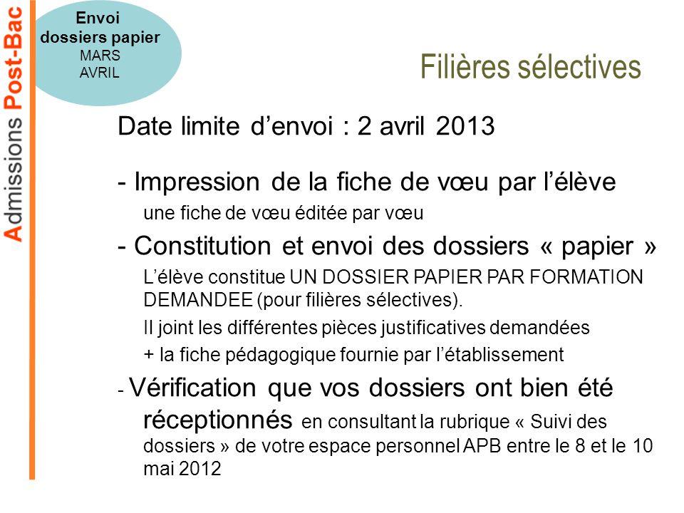Filières sélectives Date limite d'envoi : 2 avril 2013