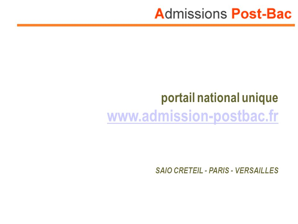 www.admission-postbac.fr portail national unique