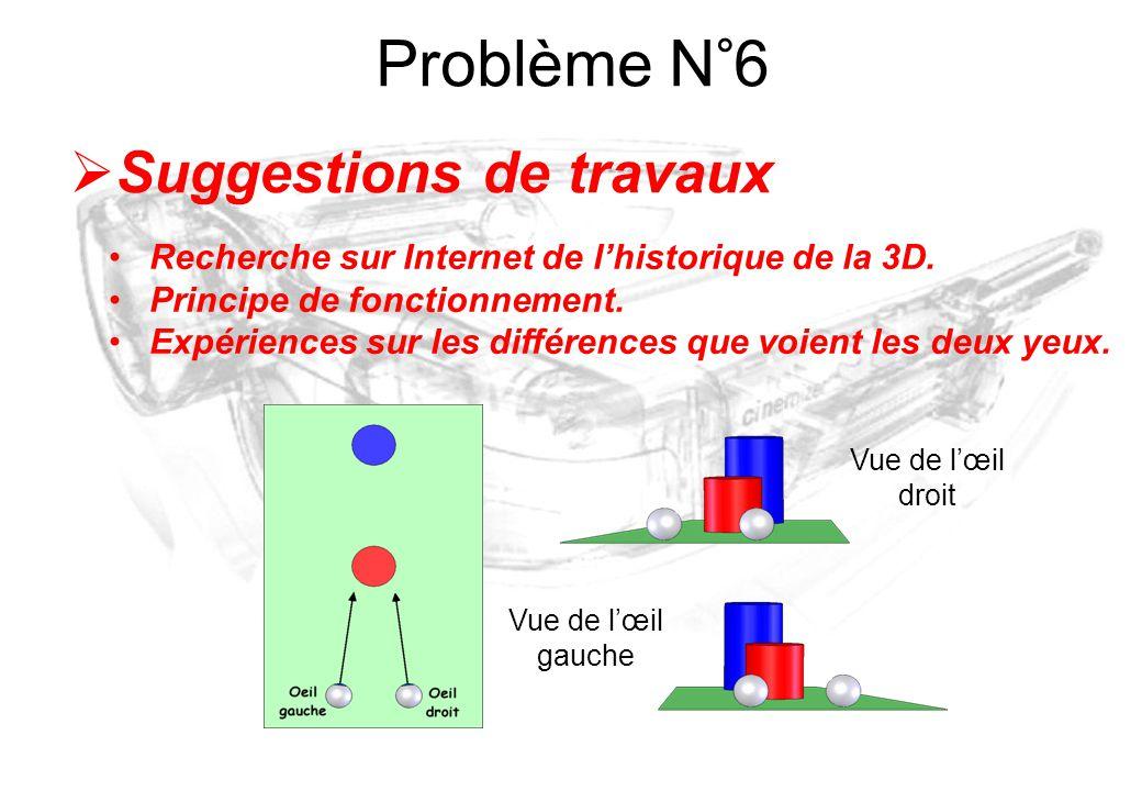 Problème N°6 Suggestions de travaux