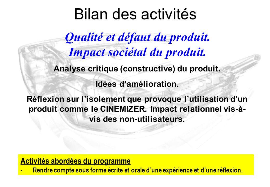 Bilan des activités Qualité et défaut du produit.