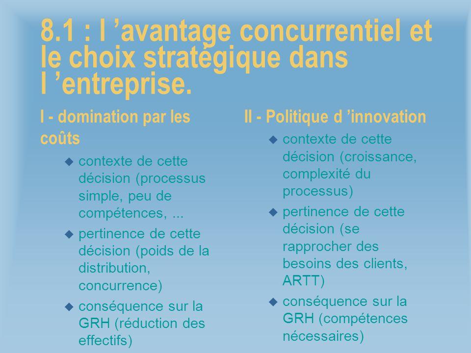 8.1 : l 'avantage concurrentiel et le choix stratégique dans l 'entreprise.