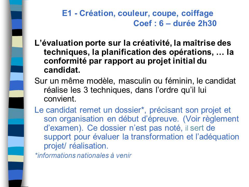 E1 - Création, couleur, coupe, coiffage Coef : 6 – durée 2h30