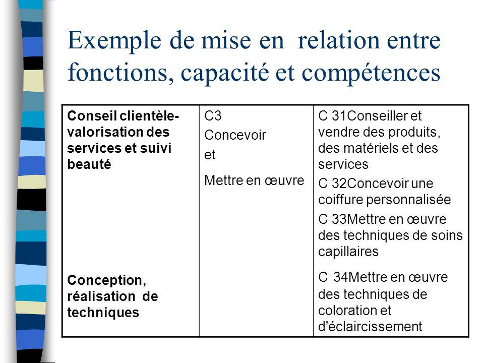 Exemple de mise en relation entre fonctions, capacité et compétences