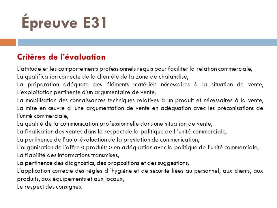 Épreuve E31 Critères de l'évaluation