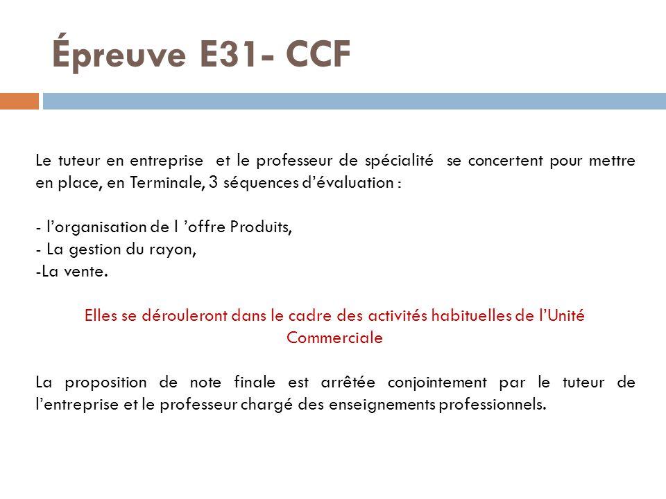 Épreuve E31- CCF