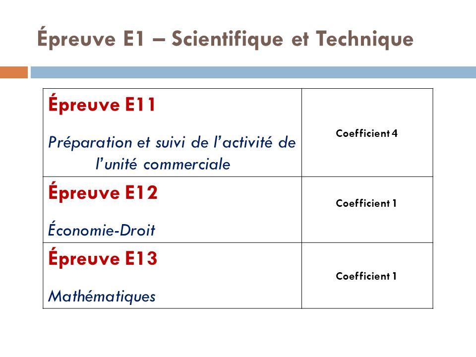 Épreuve E1 – Scientifique et Technique