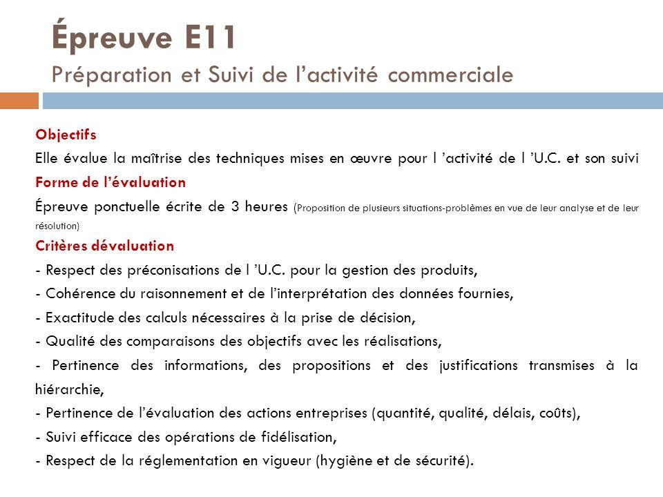 Épreuve E11 Préparation et Suivi de l'activité commerciale