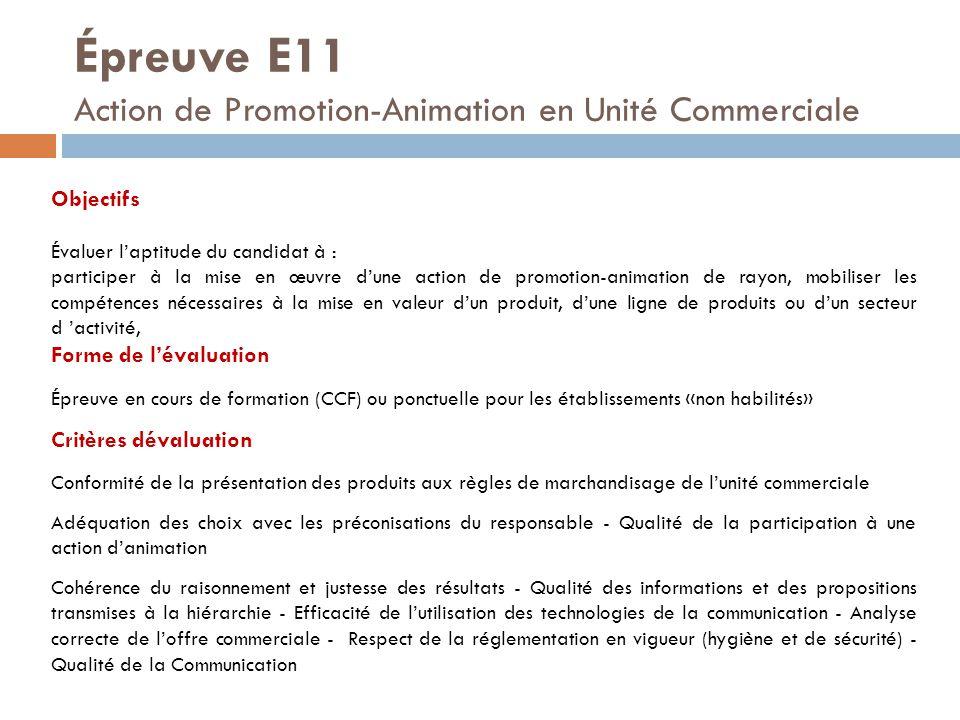 Épreuve E11 Action de Promotion-Animation en Unité Commerciale