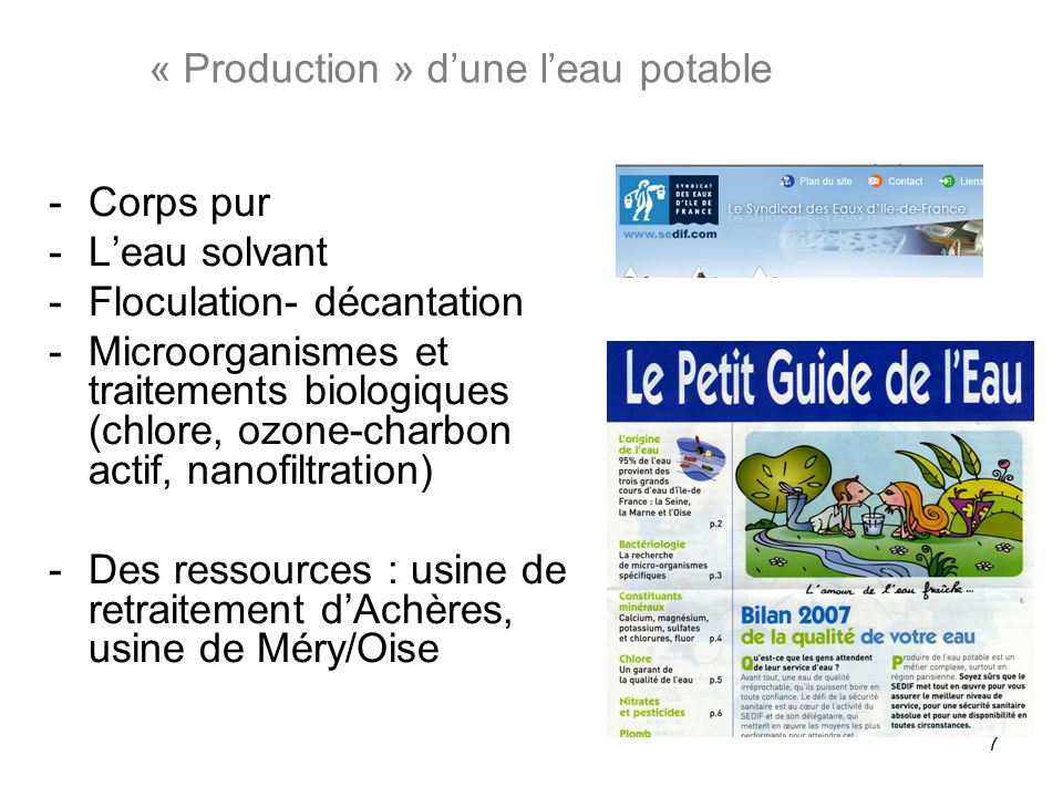 « Production » d'une l'eau potable