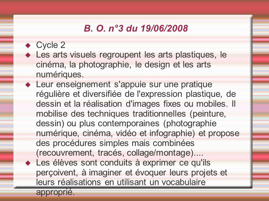 B. O. n°3 du 19/06/2008 Cycle 2. Les arts visuels regroupent les arts plastiques, le cinéma, la photographie, le design et les arts numériques.