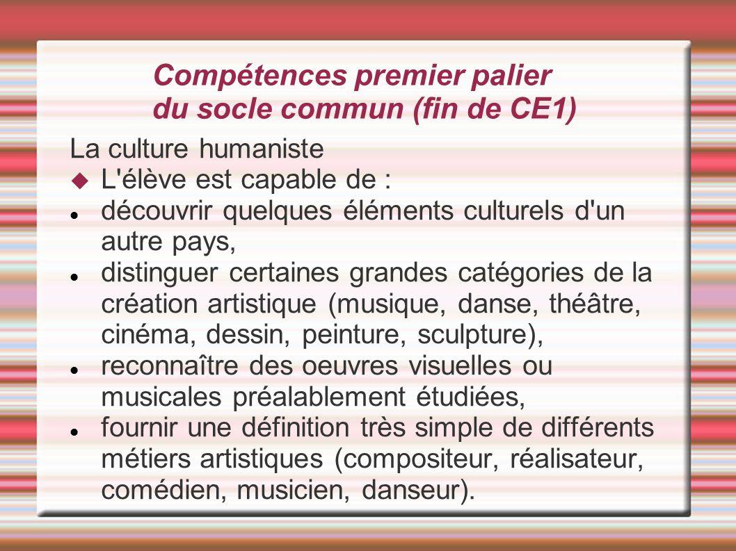 Compétences premier palier du socle commun (fin de CE1)