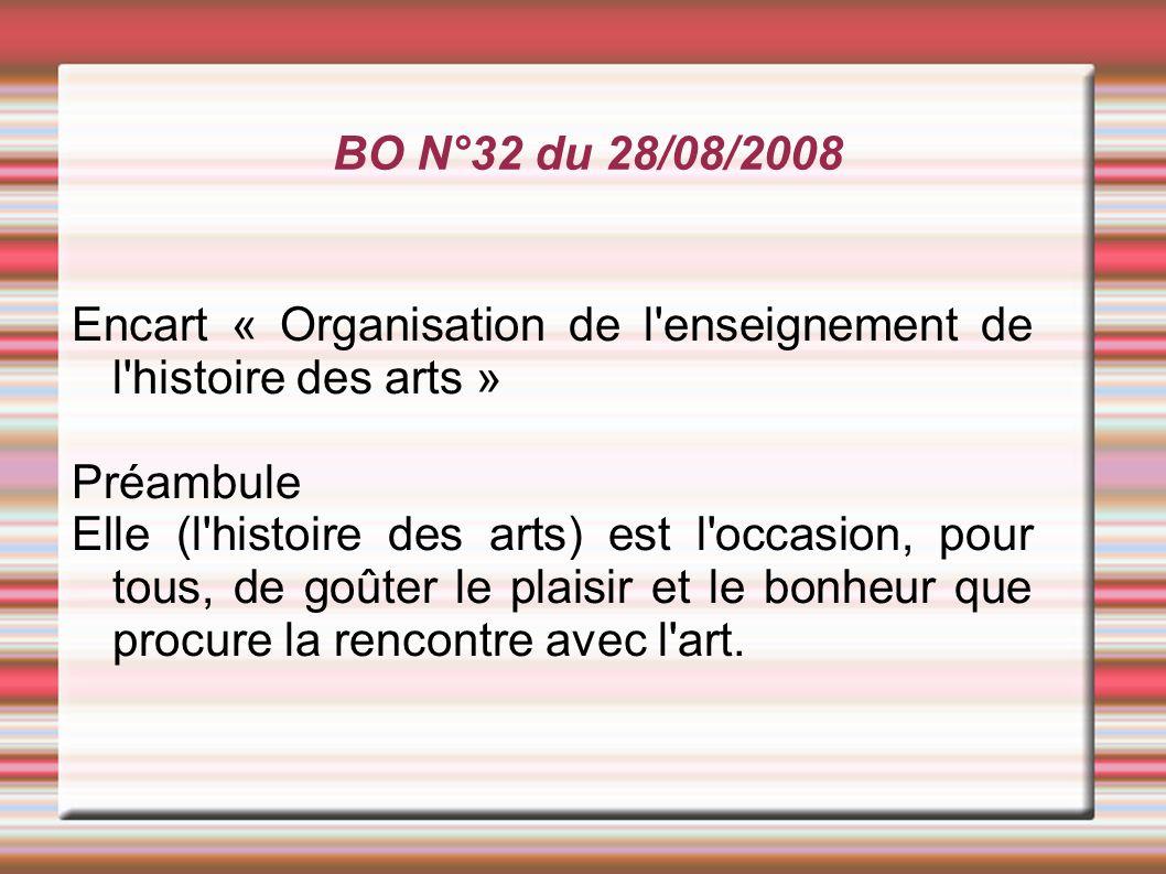 BO N°32 du 28/08/2008 Encart « Organisation de l enseignement de l histoire des arts » Préambule.