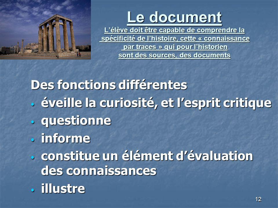 Le document L'élève doit être capable de comprendre la spécificité de l'histoire, cette « connaissance par traces » qui pour l'historien sont des sources, des documents