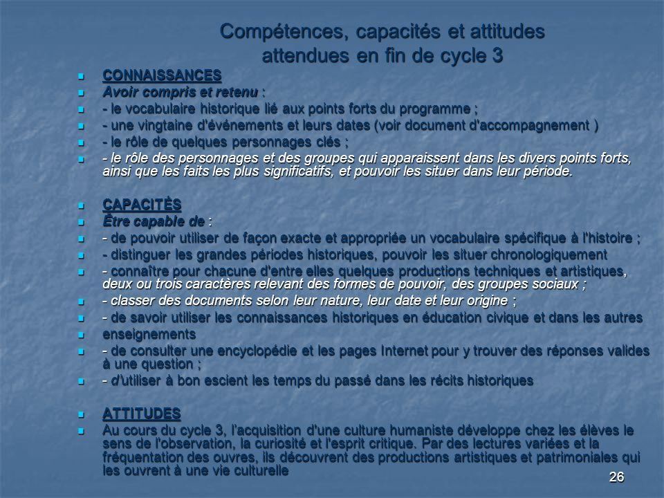 Compétences, capacités et attitudes attendues en fin de cycle 3