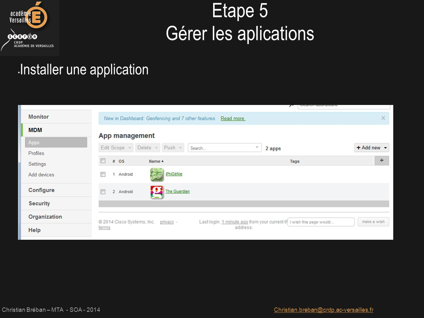 Etape 5 Gérer les aplications Installer une application