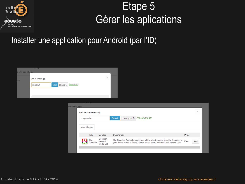 Etape 5 Gérer les aplications