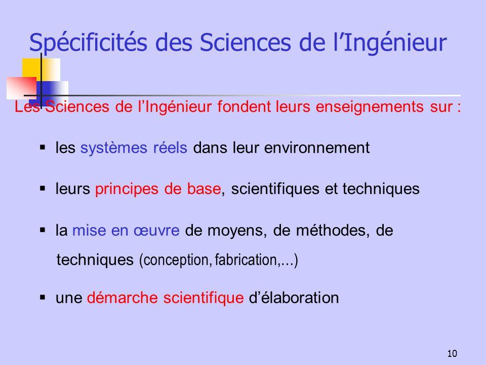 Spécificités des Sciences de l'Ingénieur