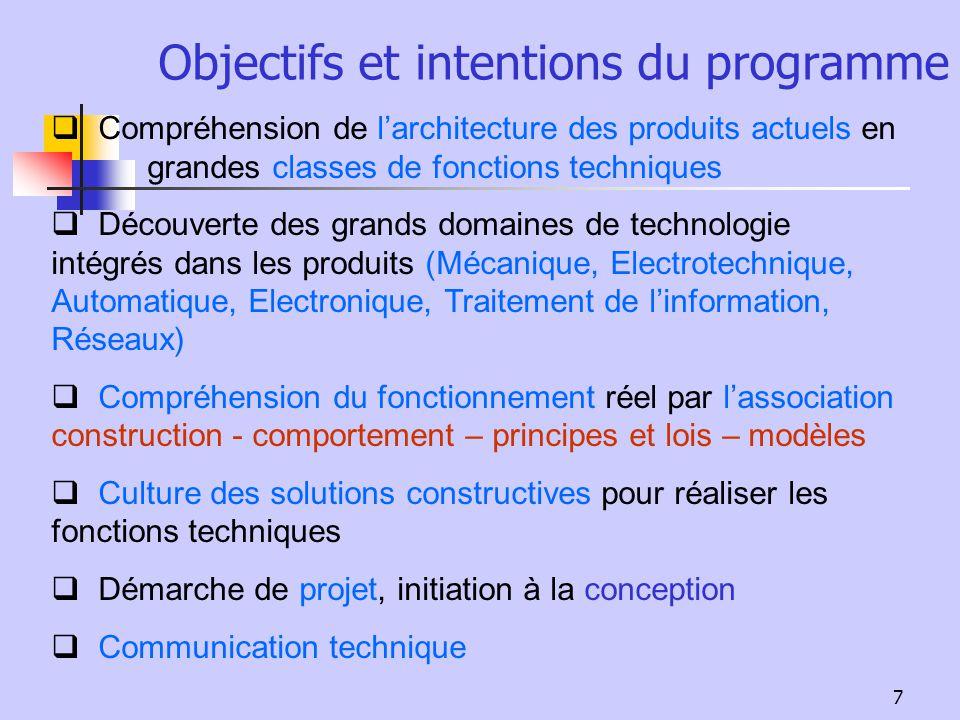Objectifs et intentions du programme