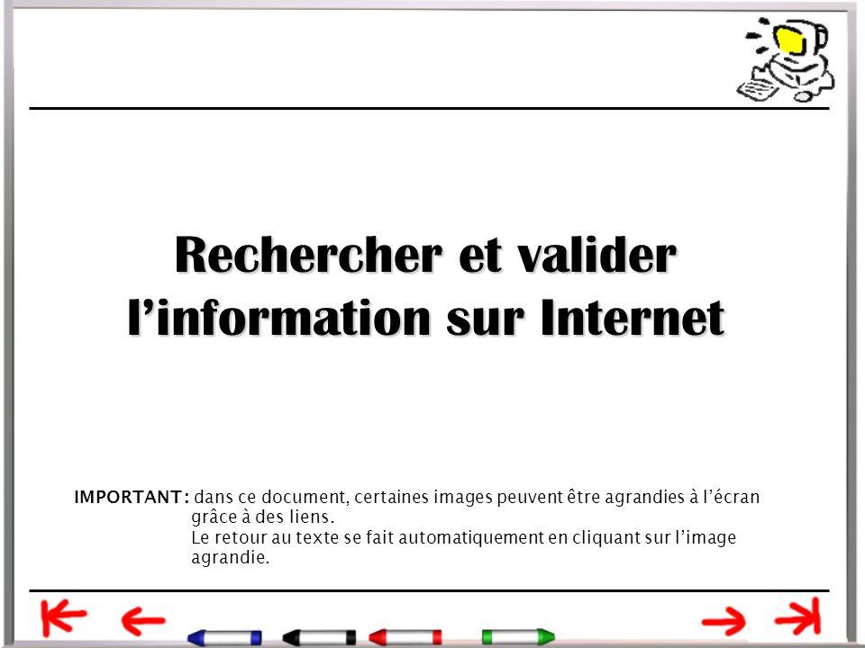 Rechercher et valider l'information sur Internet