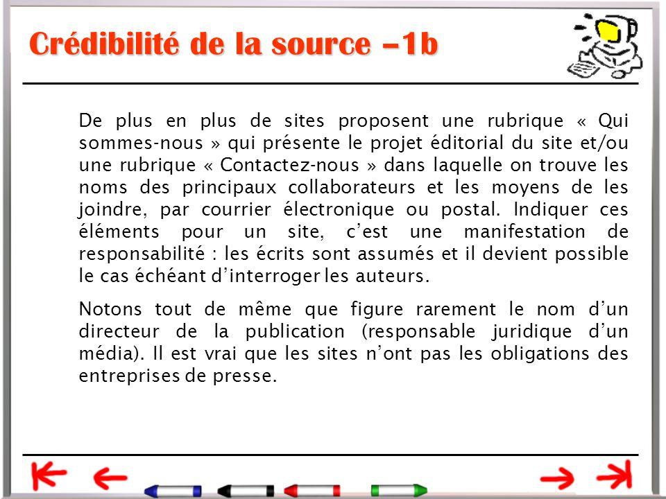 Crédibilité de la source –1b