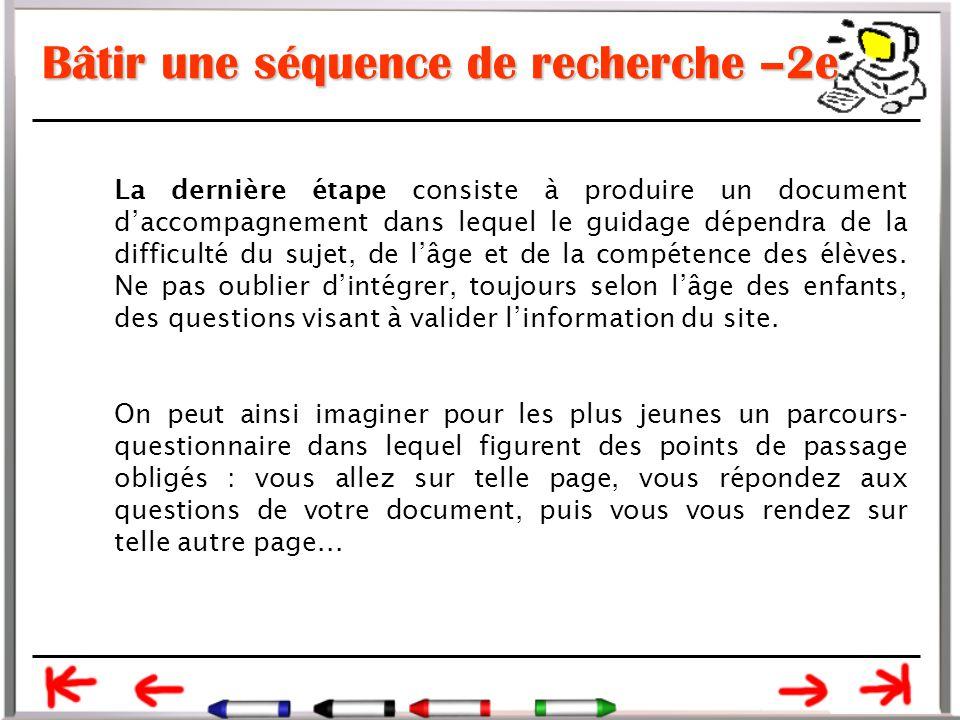 Bâtir une séquence de recherche –2e