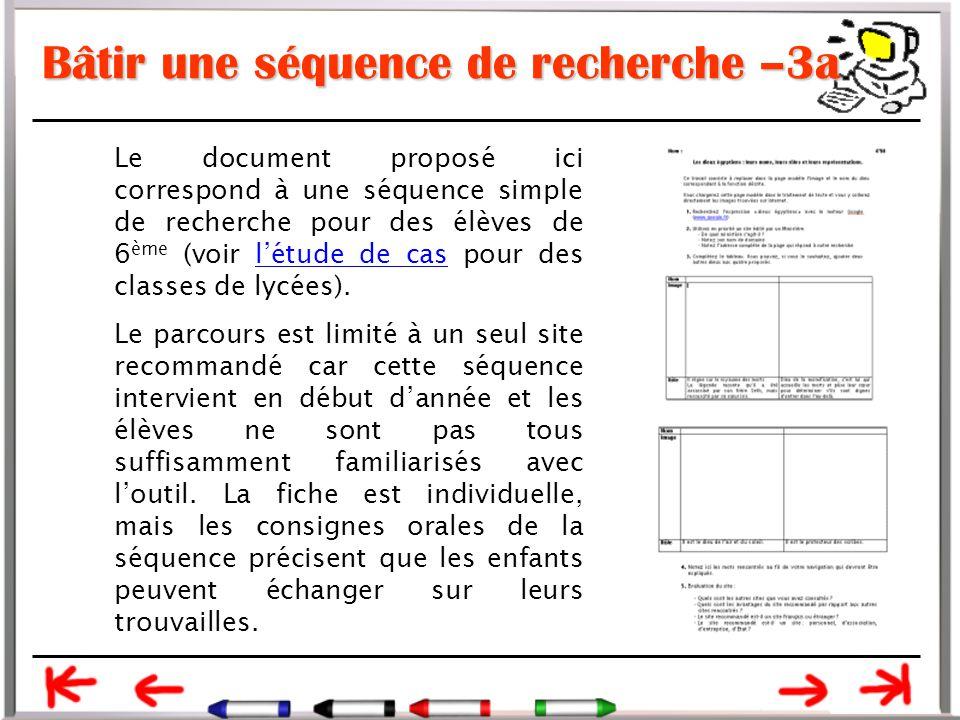Bâtir une séquence de recherche –3a