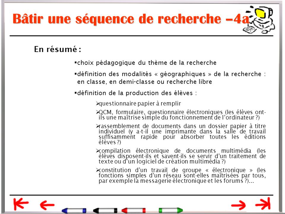 Bâtir une séquence de recherche –4a