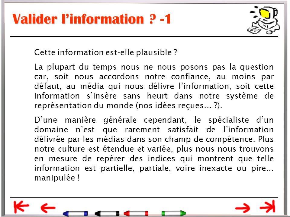 Valider l'information -1
