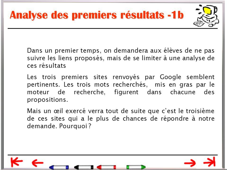 Analyse des premiers résultats -1b