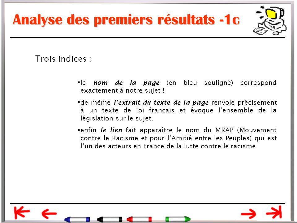 Analyse des premiers résultats -1c