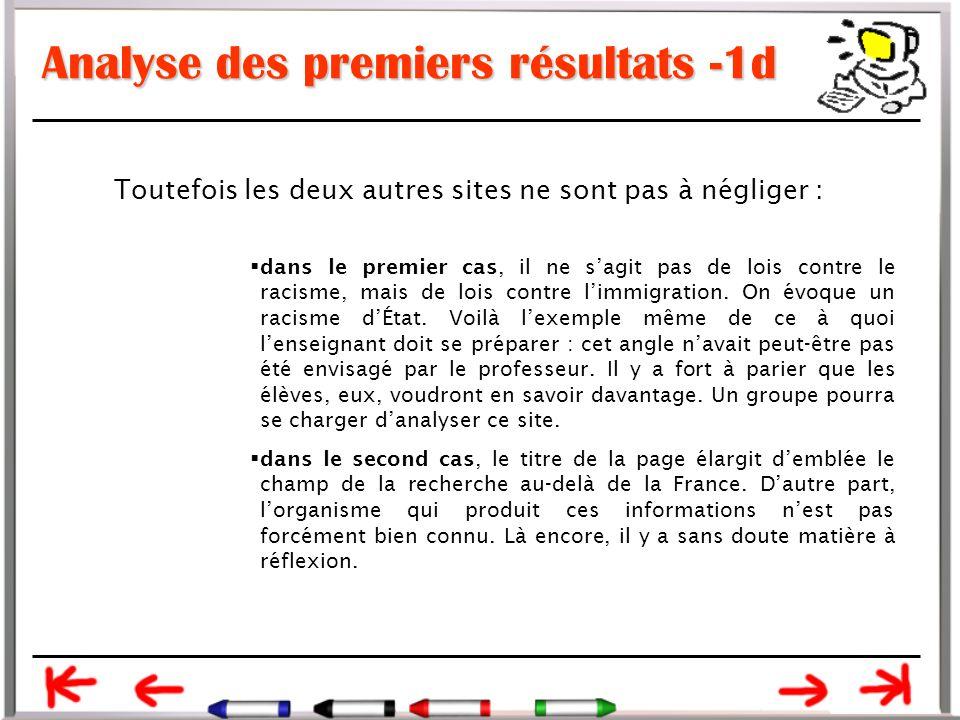 Analyse des premiers résultats -1d