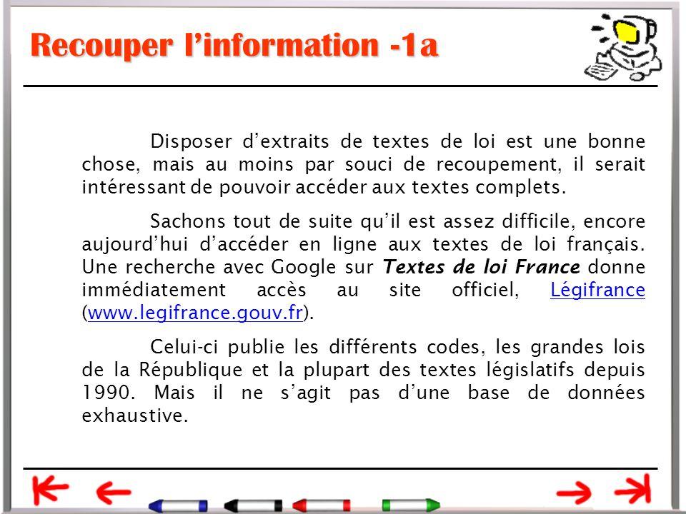 Recouper l'information -1a