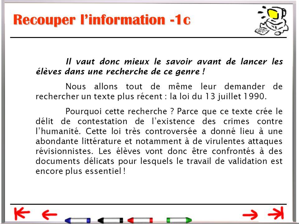 Recouper l'information -1c