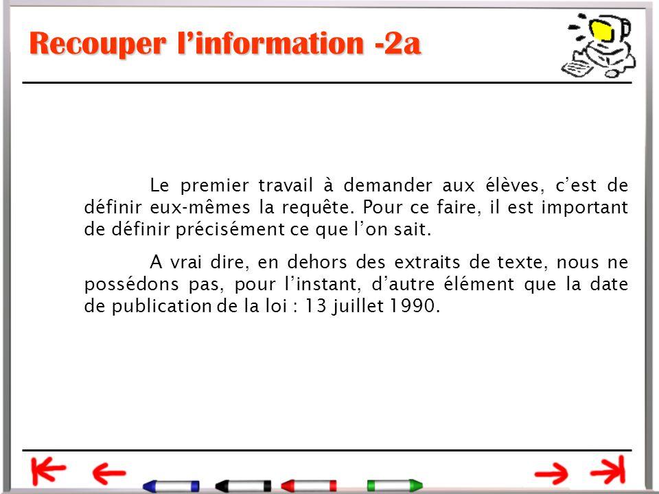 Recouper l'information -2a