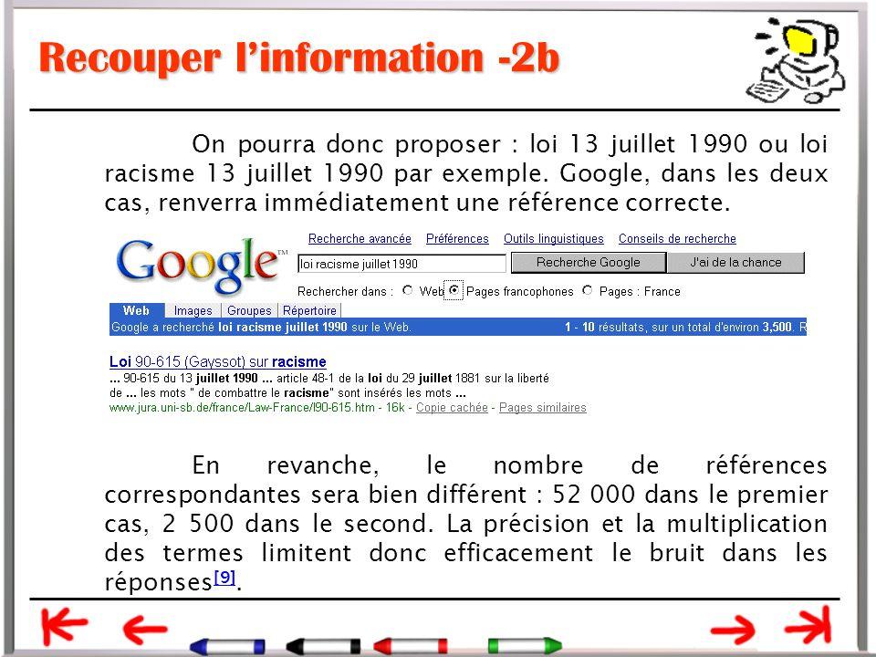 Recouper l'information -2b