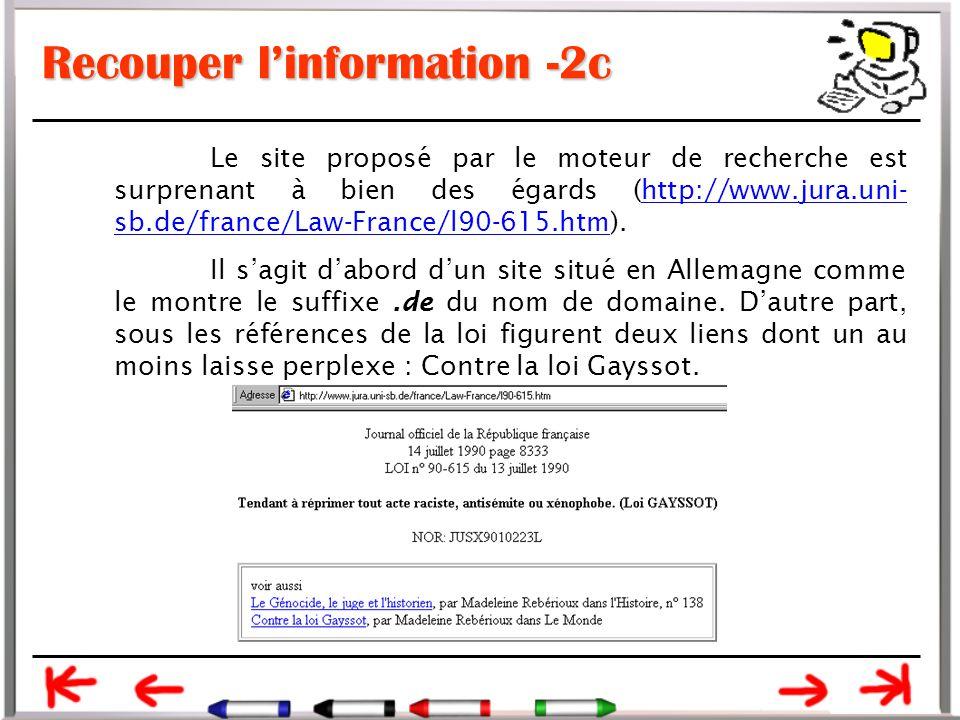 Recouper l'information -2c